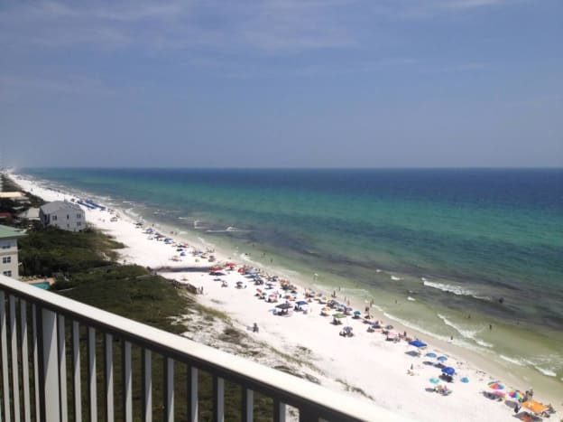 Beautiful beach view at Seagrove Beach from Beachcrest condo.