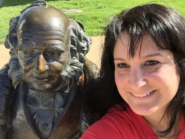 Martin Van Buren keeps an eye on traffic while we snap a selfie.