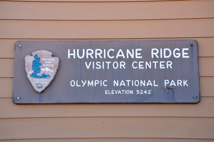 Hurricane Ridge Visitor Center sign @ Olympic National Park