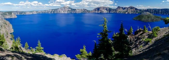 Beautiful blue Crater Lake National Park, Oregon