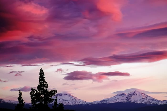 Three Sisters in Oregon at sunset