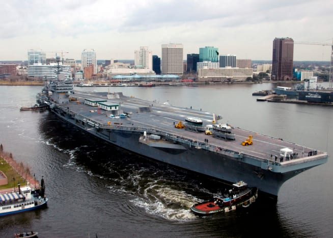 USS Theodore Roosevelt heading down the Elizabeth River to Naval Station Norfolk in Norfolk, VA