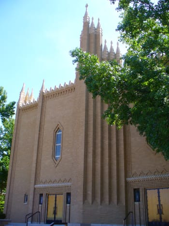 Christ the King Catholic Church in Downtown Tulsa.  Notice the Zigzag Art Deco architectural style prominent on this building.