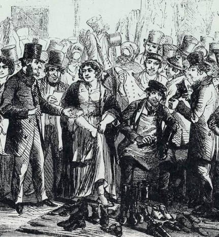 Houndsditch Rag Fair in Victorian London.