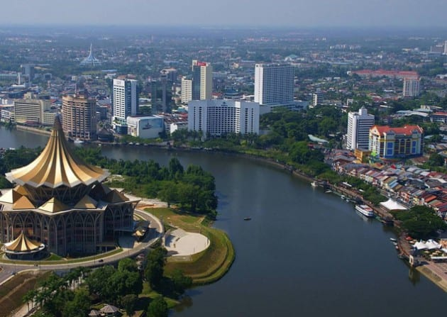 The Sarawak River meanders through the city of Kuching.