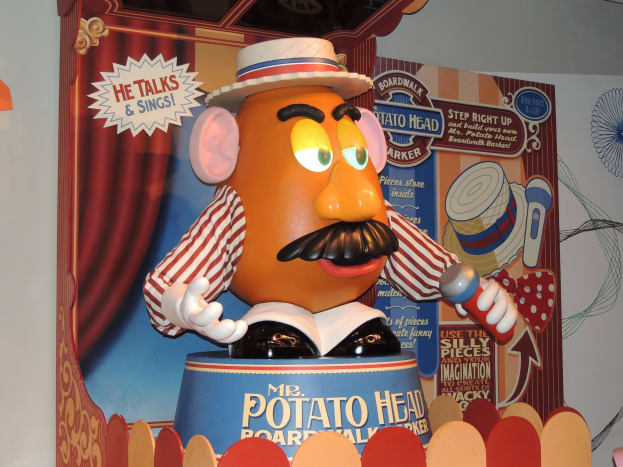 A Mr. Potato Head that moves and interacts with people in line waiting to get on the Toy Story Midway Mania Ride at Disney's Hollywood Studios