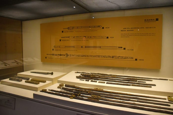 Excavated remains of Chinese swords.