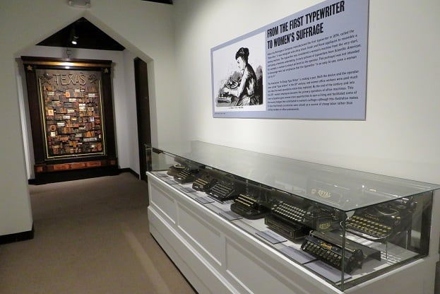 Old typewriters on display in this gallery inside of The Printing Museum
