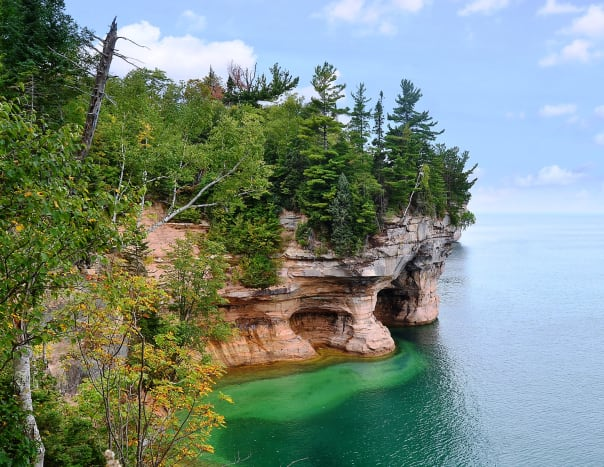View from hiking trail at Pictured Rocks National Lakeshore on Lake Superior