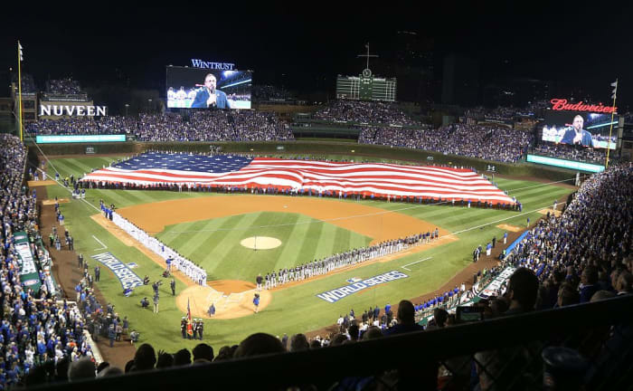 National Anthem before Game 3 of the 2016 World Series at Wrigley Field in Chicago, Illinois