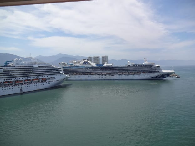 While in port it's common to see other cruise ships.