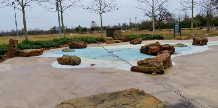 View of the sprayground water feature at Shady Lane Park