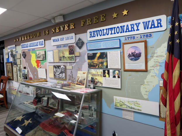 War information and displays inside the General Patton Room of the museum