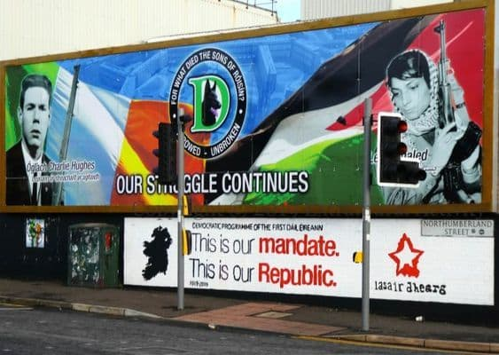D Company mural at the corner of the Divis Street/Northumberland Street International Wall
