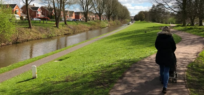 The towpath of The Trent and Mersey canal runs parallel to the lake path.