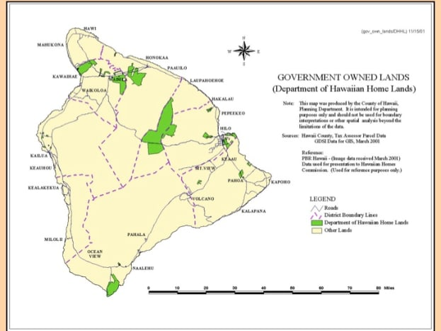 The green areas are districts reserved for native Hawaiian homeland.