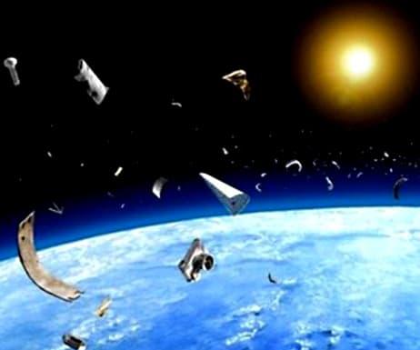 A graphic representation of debris in space