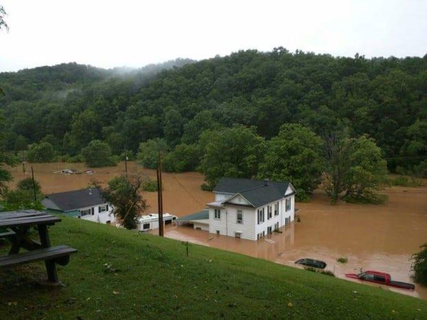 A photograph of Christine McKown's parents home in Clendenin West Virginia. Taken June 24, 2016 after the water began receding.