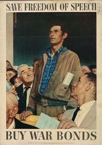 """""""Freedom of Speech,"""" poster art by Norman Rockwell (1943)"""