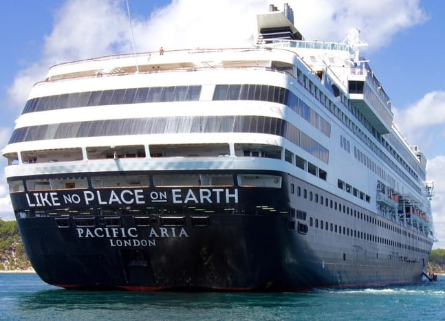 "The stern of the Pacific Aria.""LIKE NO PLACE ON EARTH"""