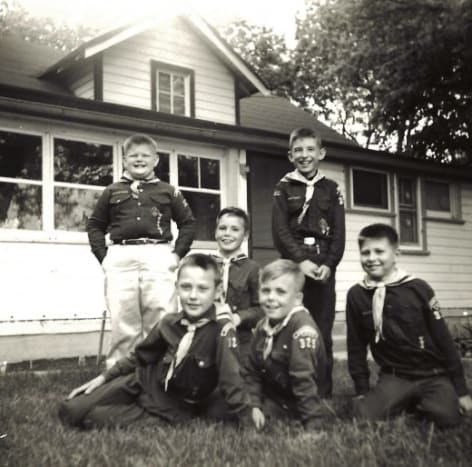 Boy scout troop, June of 1959 - My brother John is in the middle front and my brother Jim is in the middle of the back row.