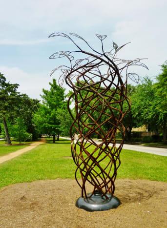 """Whirlwind"" sculpture by Tim Glover in True South sculpture exhibit Houston"