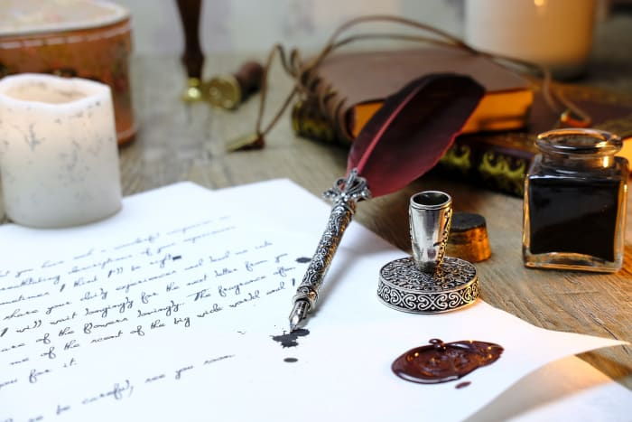 Quill, paper and ink, a writers tools