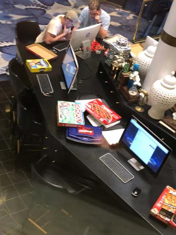 Internet kiosk and board games in Atrium Deck 6
