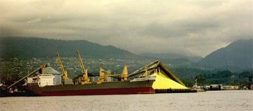 Sulfur loaded onto a ship for export from Vancouver