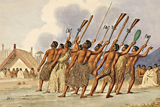 A  Maori tribal war dance dating from c1845,  and illustrated by the poet and artist Joseph Jenner Merritt,