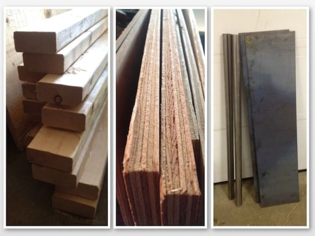 Lumber, plywood, and steel materials