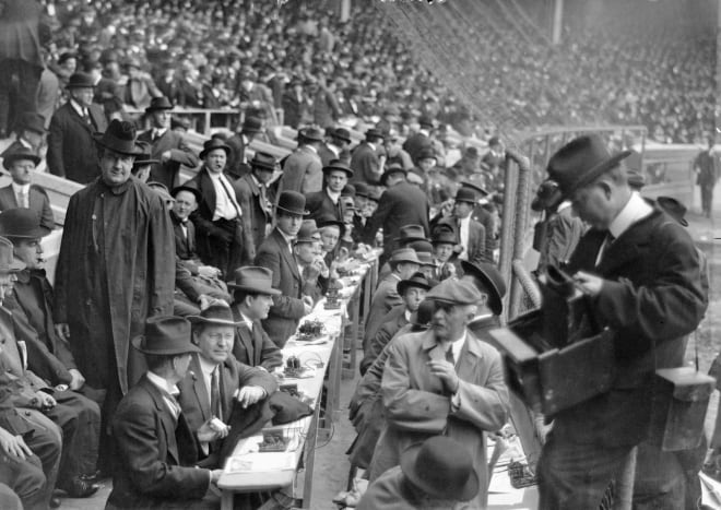Press box at the 1912 World Series.  Over 70 years later I would sit behind the temporary press box at Yankee Stadium; it did not look that much different.