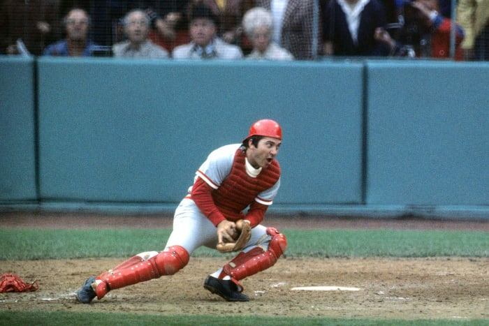 Johnny Bench attempts to make a tag during Game 1.