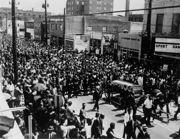 April 9, 1968, Dr. King's funeral rolls through Atlanta