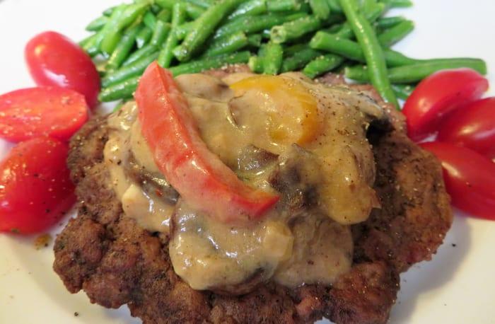 Marsala sauce served over an Angus burger