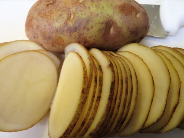 Thinly sliced russet potatoes