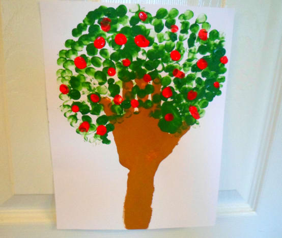 Our finished handprint apple tree.