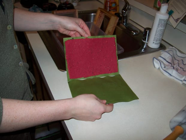 Step 8: Flip the pulp and blotter over onto a dry blotter page.