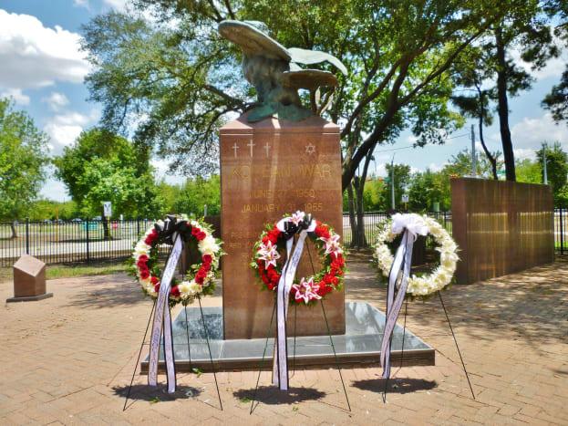 Wreaths at the Harris County War Memorial