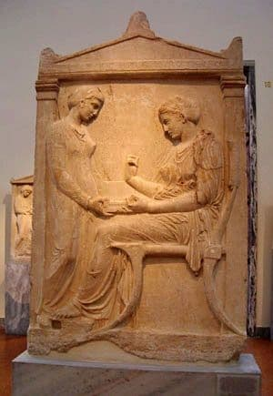Late Classical Greek Sculpture: Gravestone of Lady Hegeso inspecting her jewelry. c. 400BCE.