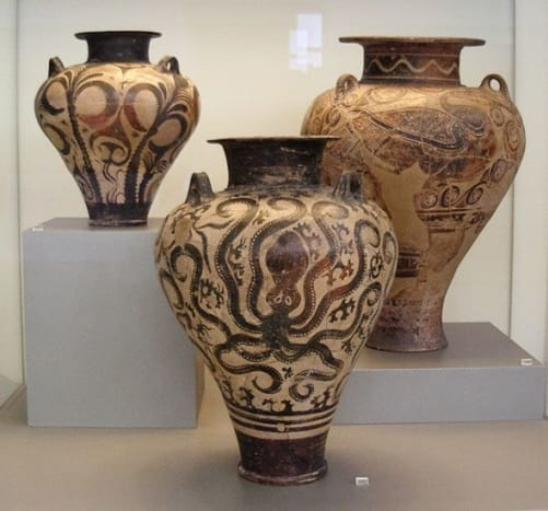 """Minoan """"Palace style,"""" 15th century BCE. By then the Mycenaeans had conquered the Minoan civilization on Crete, but marine and floral themes from older Minoan art continued."""