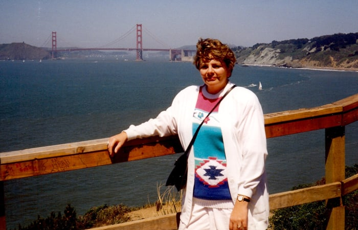 Me with a background of San Francisco Bay and the Golden Gate Bridge