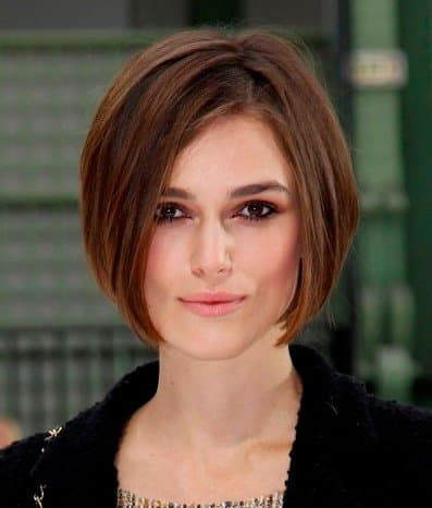 Keira Knightley is wearing a precision cut bob style that is super sexy and easy to manage.  The precision cut bob hair style is hot hot hot this year - Bob Hairstyles 2013 - Bob Hair Styles