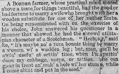 Humorous early American 19th century newspaper article; Border farmer marries woman with wooden leg.