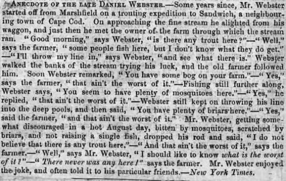 Anecdote of the Late Daniel Webster