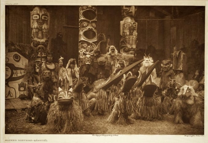 A potlatch celebrating the Kwakiutl festival would bring out dancers and their traditional carved masks.