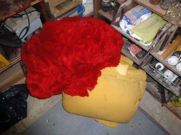 Recycled furniture foam padding and upholstered material