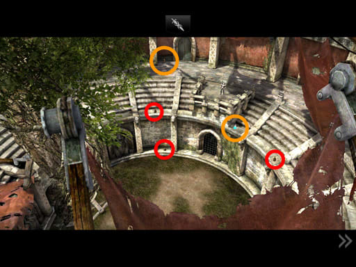 As Siris enters the arena, a cutscene ensues. You can actually pick up the ones marked orange later, but this is the only time they're visible.