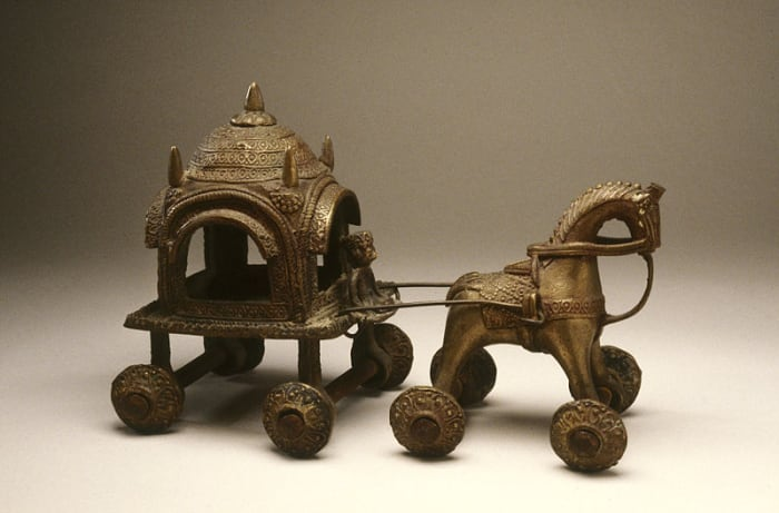 Bengal art of 19th century, Horse and Cart, copper alloy