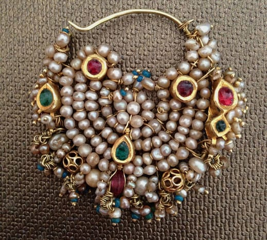 Antique Nose Ring from India, with Gold, Pearls and Jadau work. 19th century